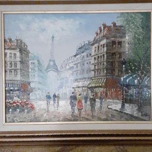 Parisian vintage oil painting on canvas